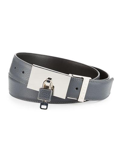 Padlock-Buckle Leather Belt, Dark Gray