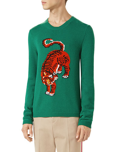 Crewneck Sweater w/Tiger Intarsia, Green