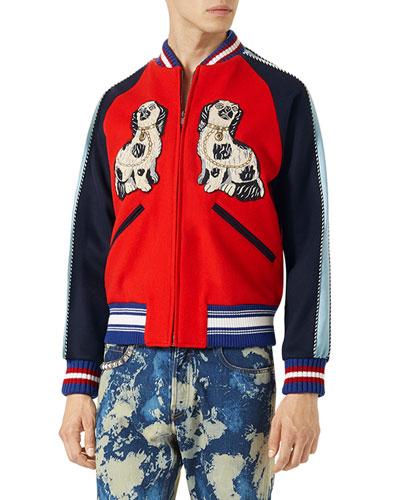 King Charles Spaniel Dog Bomber Jacket, Red