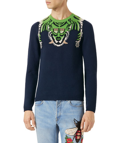 Knit Tiger-Stripe Sweater, Green