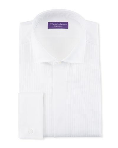 Basic Pleated French-Cuff Tuxedo Shirt