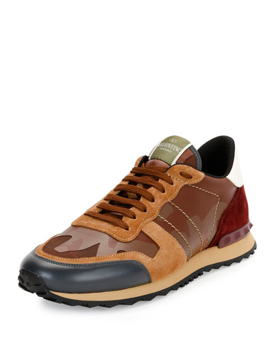 Men's Rockrunner Camo Leather Trainer Sneaker, Light Brown