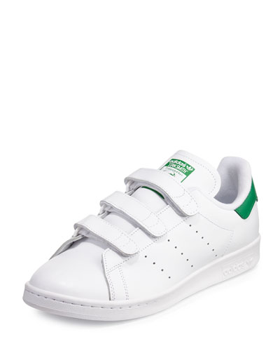 Men's Stan Smith Triple-Strap Sneaker, White/Green