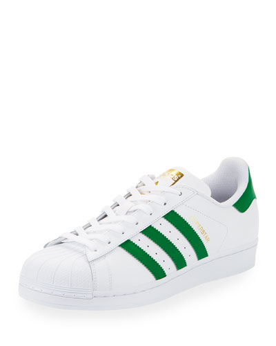 Men's Superstar Classic Leather Sneaker, White/Green