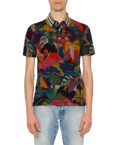 Tropical-Print Polo Shirt, Multicolor