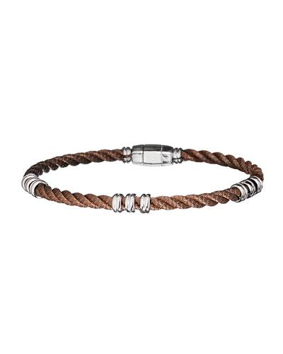 Men's Bronze Beaded 925 Sterling Silver Cable Bracelet