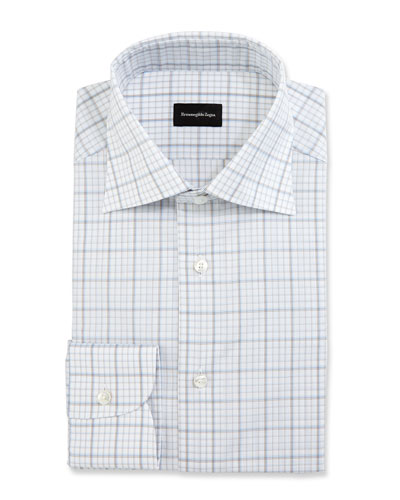 Large-Check Dress Shirt, White/Blue/Brown