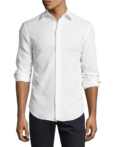 Textured Seersucker Sport Shirt, White