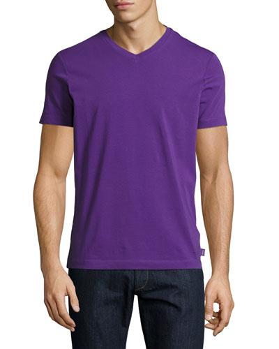Stretch-Cotton V-Neck T-Shirt, Purple