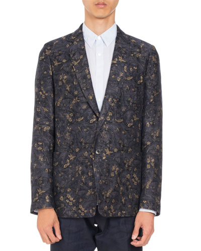 Bailey Floral-Print Two-Button Sport Jacket, Navy