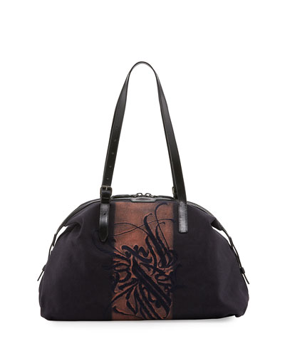 Men's Embroidered Canvas Duffel Bag, Navy