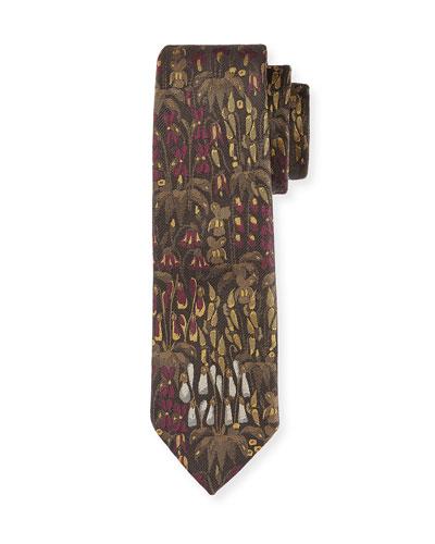 Floral Silk Tie, Purple/Multi