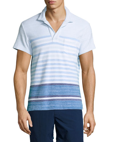 Terry Striped Polo Shirt, Maritime/Iris