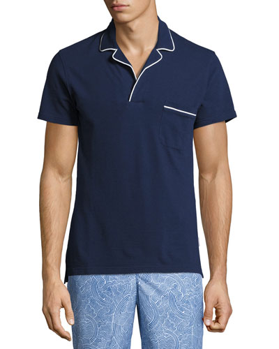 Donald Waffle Cotton Polo Shirt, Navy/White