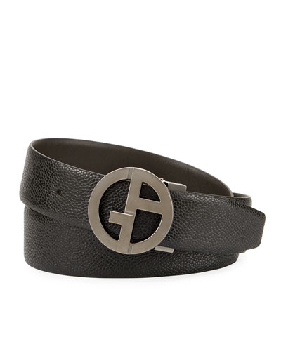Logo-Buckle Vitello Belt, Black