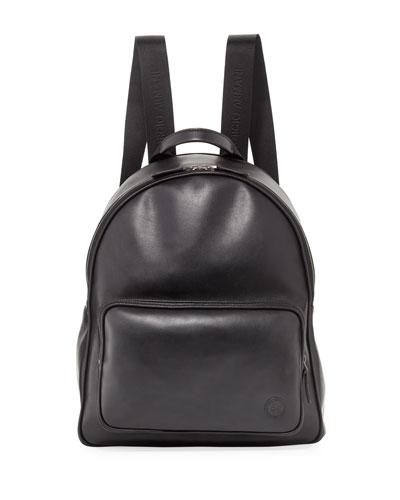 Calfskin Leather Backpack, Black
