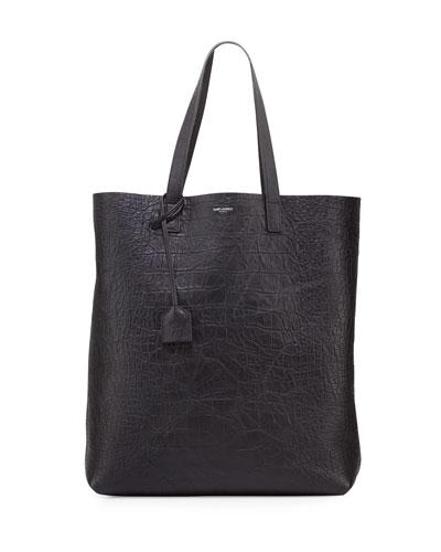 Men's Crocodile-Embossed Leather Tote Bag, Black