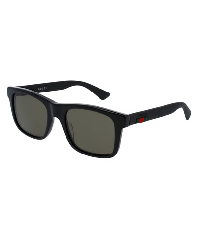 Acetate Rectangular Sunglasses w/Web Detail, Black