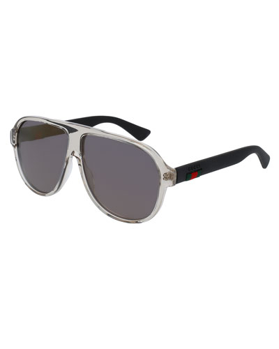 Transparent Acetate Aviator Sunglasses w/Web Detail, Brown