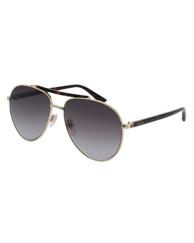 Metal Aviator Sunglasses, Golden/Brown
