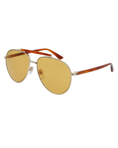 Metal Aviator Sunglasses, Golden/Amber