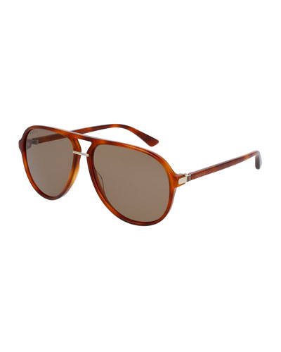 Translucent Acetate Aviator Sunglasses, Havana