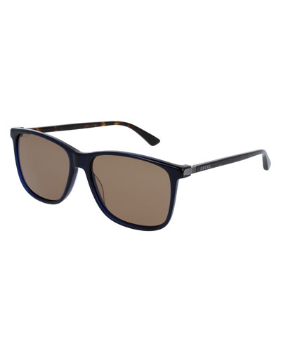 Acetate Square Sunglasses, Dark Blue/Tortoiseshell