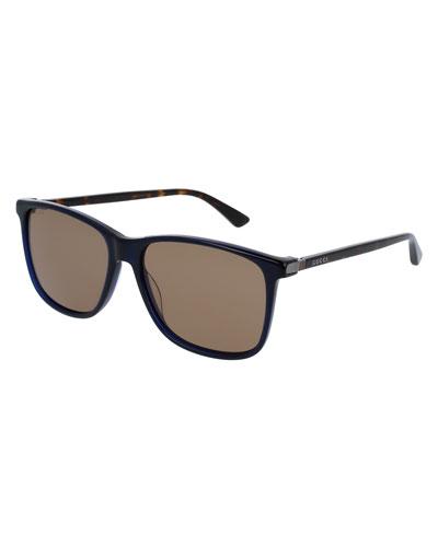 Acetate Square Sunglasses, Dark Blue/Tortoiseshell