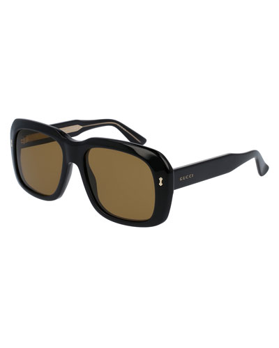 Thick Square Acetate Sunglasses, Black