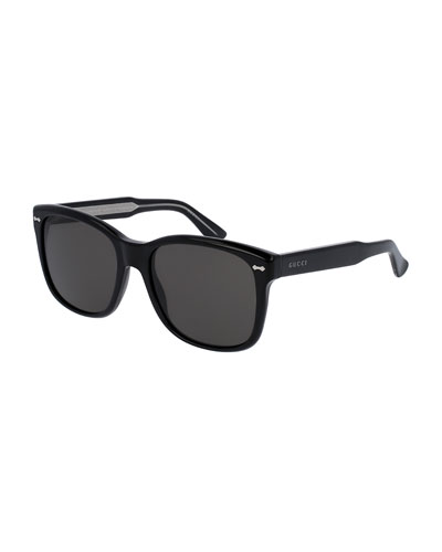Men's Runway Acetate Square Sunglasses, Black