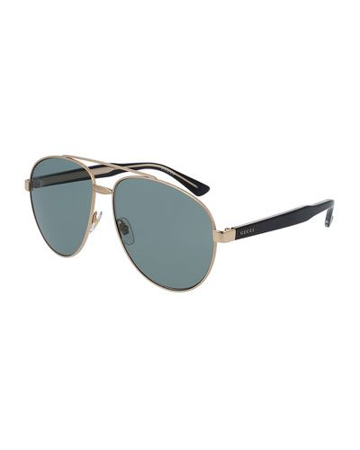 Runway Metal Aviator Sunglasses, Gold/Black