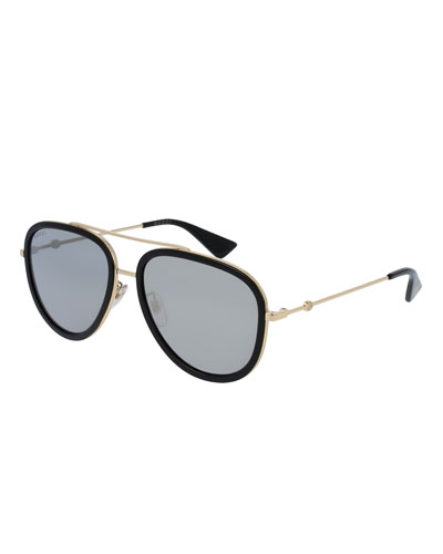 Rimmed Metal Aviator Sunglasses, Black/Gold