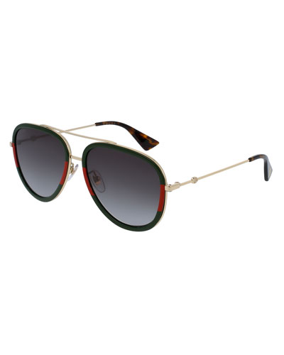 Web Aviator Sunglasses, Green/Red/Green