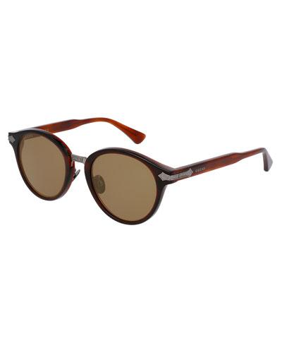 Round Acetate Sunglasses w/Engraved Details, Translucent Red