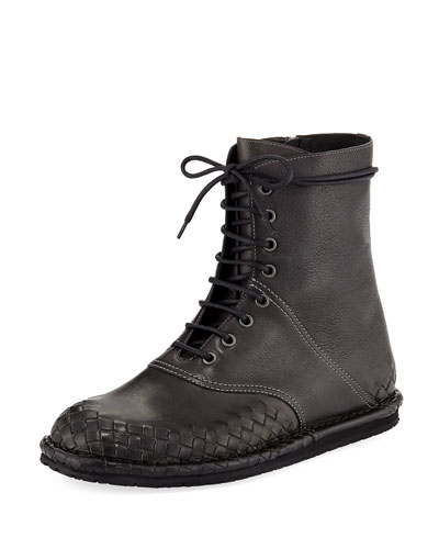 San Crispino Intrecciato Lace-Up Boot, Dark Gray