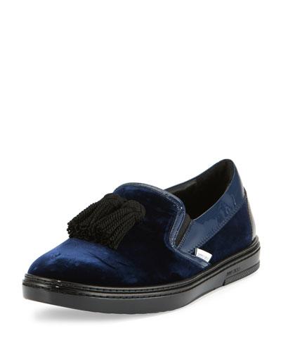 Griffin Velvet Tassel Slip-On Sneaker