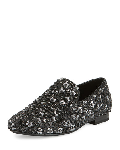 Sloane Men's Floral-Stud Slipper, Black