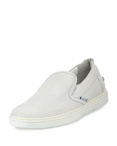 Grove Men's Perforated Leather Slip-On Sneaker, White
