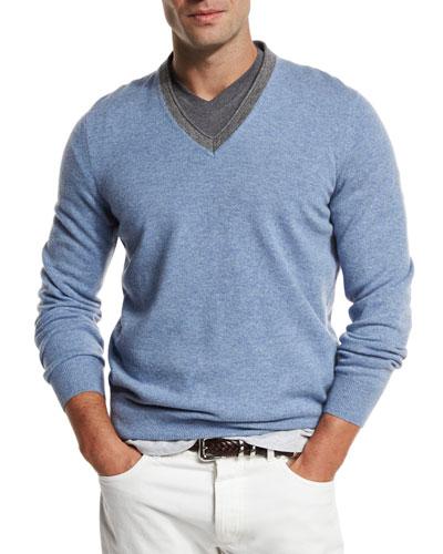 Contrast-Collar Cashmere Sweater, Dove