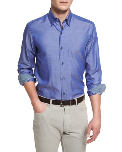 Polished Solid Long-Sleeve Sport Shirt, Blue