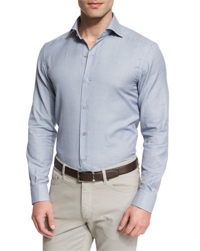 Link-Print Long-Sleeve Sport Shirt, Blue