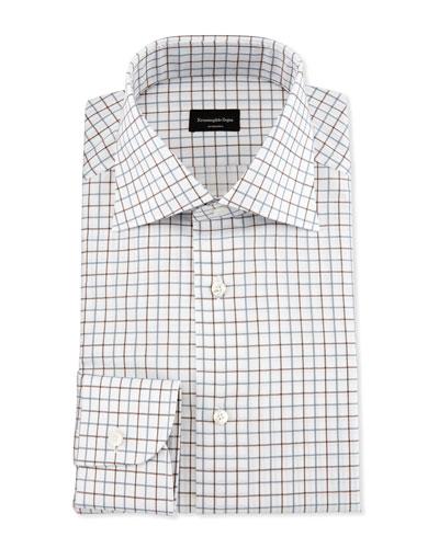 Multicolor Box-Check Dress Shirt, Brown/Blue