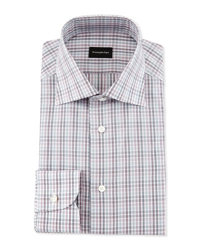 Multicolor Soft Check Dress Shirt, Burgundy