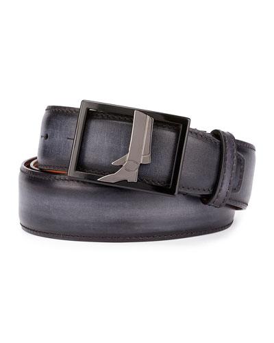 Venezia Leather Boot-Buckle Belt, Black