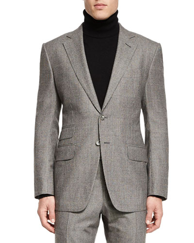 O'Connor Base Windowpane Two-Piece Suit, Ivory/Black