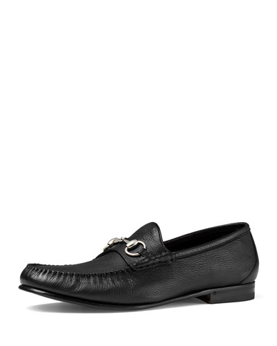 Unlined Leather Horsebit Loafer, Black