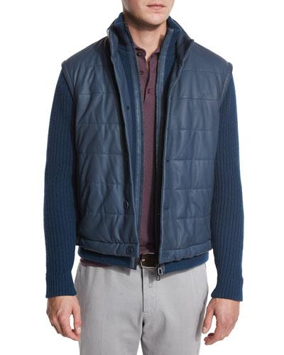 Quilted Leather & Ribbed Bomber Jacket, Lapis Lazuli