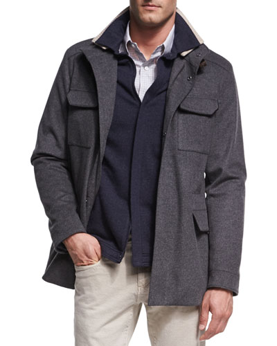New Traveler Cashmere Stretch Storm System® Jacket, Smoke
