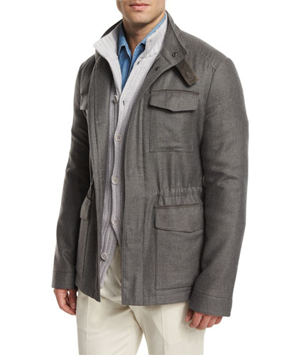 Traveler Shadow-Plaid  Cashmere Field Jacket, Gray