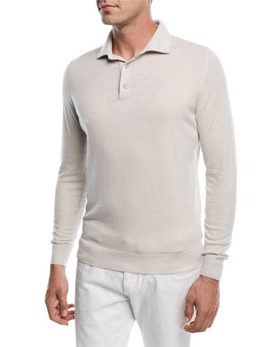 Superlight Baby Cashmere Long-Sleeve Polo Shirt